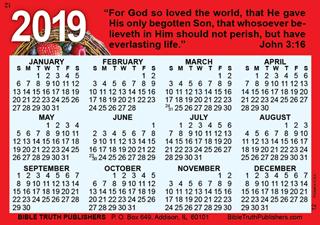 Pocket Calendar.2019 Gospel Pocket Wallet Calendar