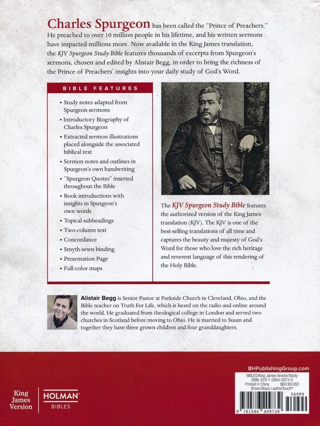KJV Spurgeon Study Bible, Black/Brown LeatherTouch